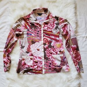 Beautiful Floral Print Snap Front Blouse w/Pockets